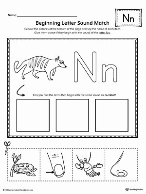Letter N Worksheets for Preschoolers Unique Letter N Beginning sound Picture Match Worksheet