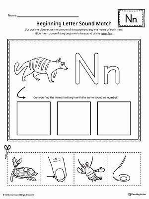 Letter N Worksheets for Preschoolers Unique Letter N Beginning sound Picture Match Worksheet