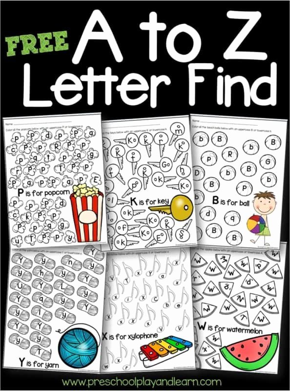Letter Recognition Worksheets for Preschoolers Awesome Free A to Z Letter Find Worksheets