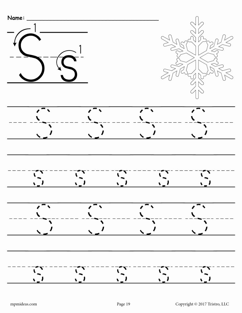 Letter S Worksheets for Preschoolers Beautiful Worksheet 1print Preschool Handwriting Tracingnoarrows19 1