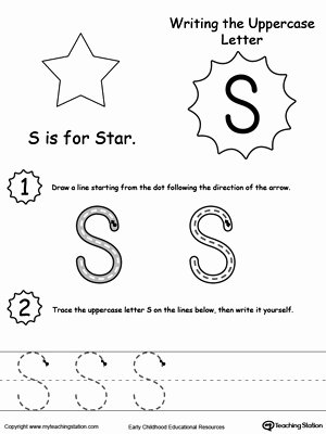 Letter S Worksheets for Preschoolers Beautiful Writing Uppercase Letter S