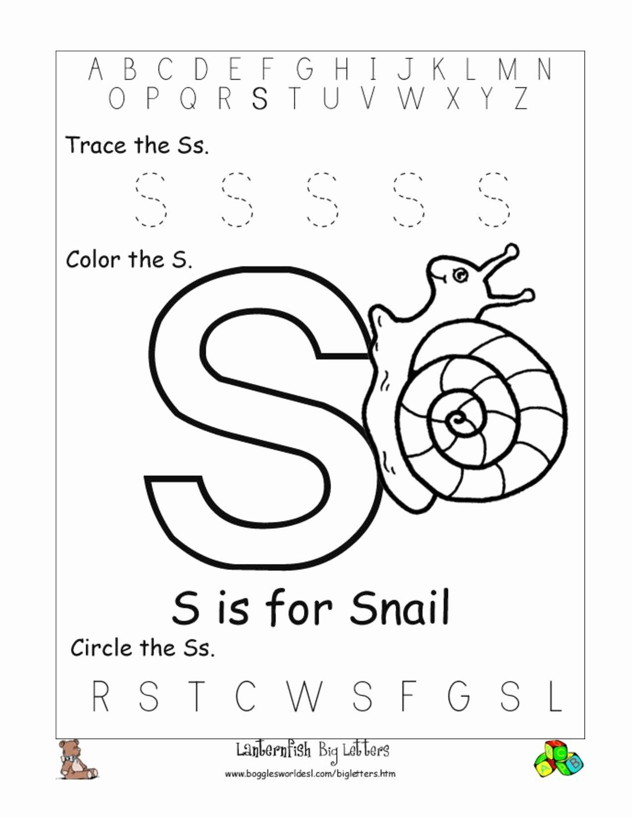 Letter S Worksheets for Preschoolers Fresh Worksheets Worksheet Junior Kg Printable Worksheets and