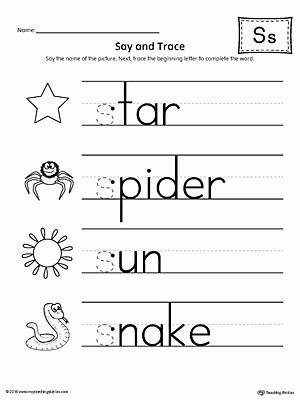 Letter S Worksheets for Preschoolers top Say and Trace Letter S Beginning sound Words Worksheet