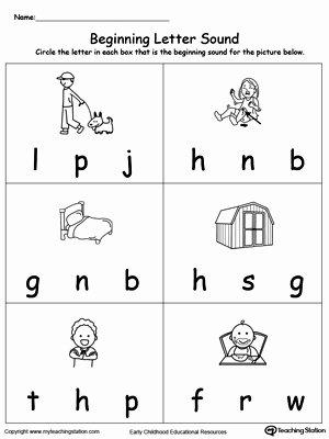 Letter sound Worksheets for Preschoolers New Beginning Letter sound Ed Words