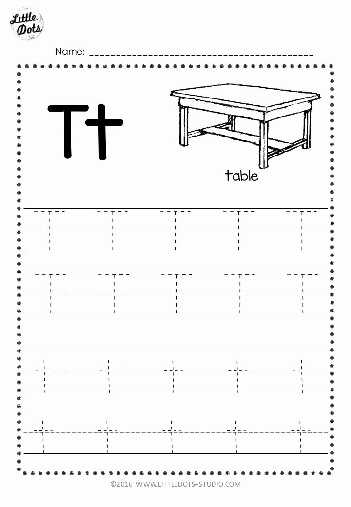 Letter T Worksheets for Preschoolers Beautiful Free Letter T Tracing Worksheets