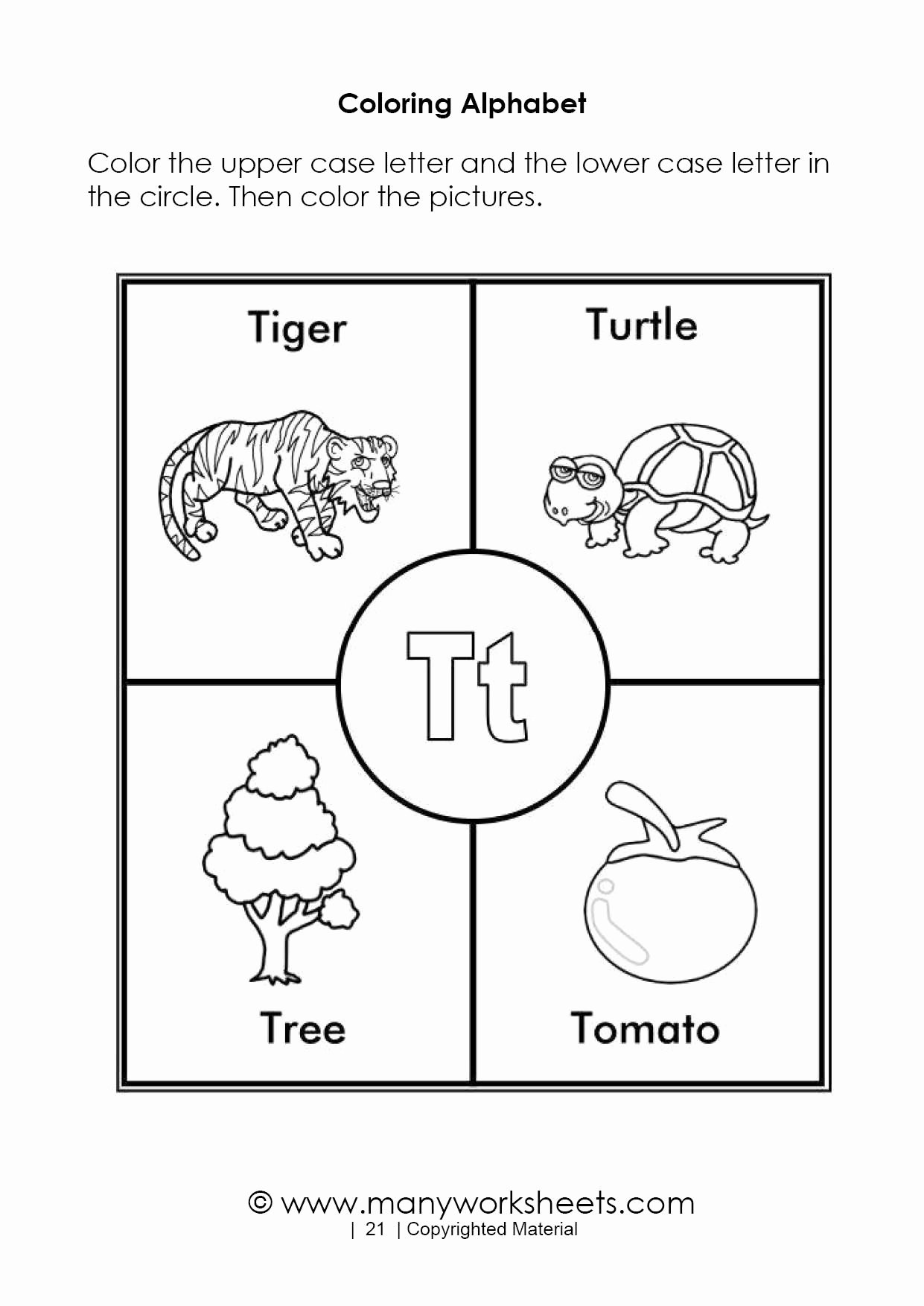 Letter T Worksheets for Preschoolers Inspirational Alphabet Coloring Pages – Letter T