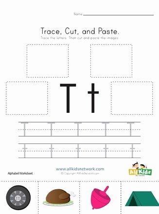 Letter T Worksheets for Preschoolers Inspirational Trace Cut and Paste Letter T Worksheet