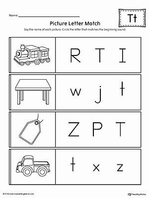 Letter T Worksheets for Preschoolers Lovely Picture Letter Match Letter T Worksheet