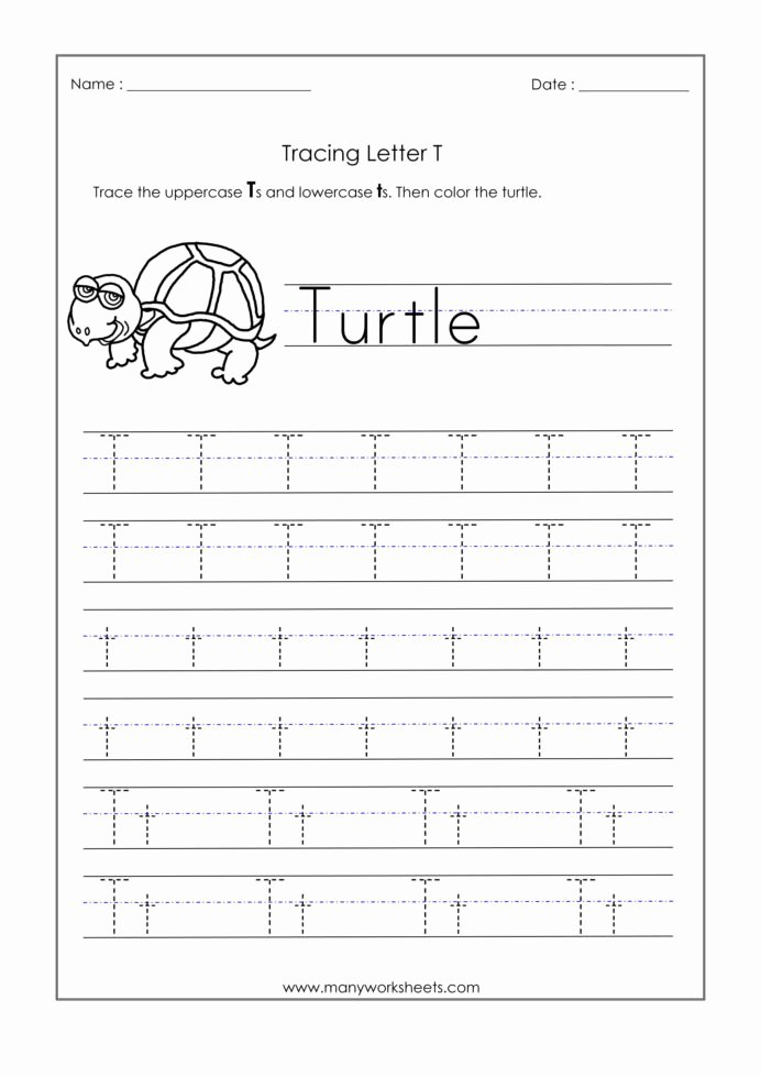 Letter T Worksheets for Preschoolers Unique Letter Worksheets for Kindergarten Trace Dotted Letters Pre
