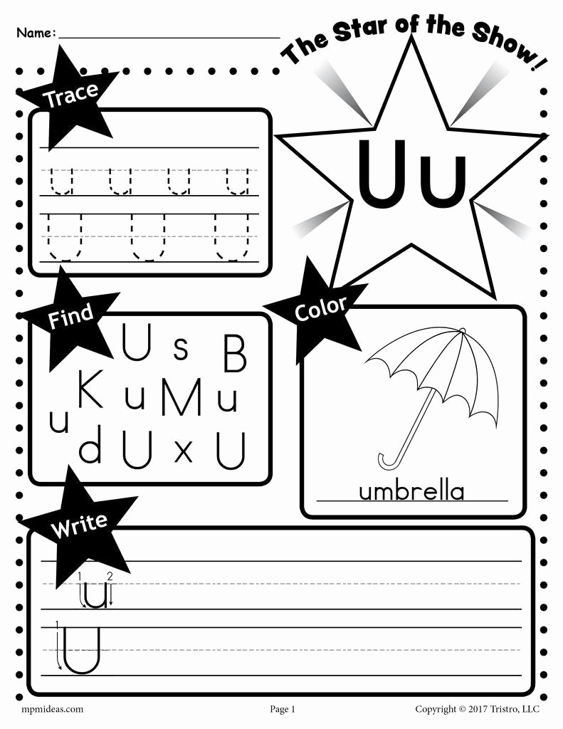 Letter U Worksheets for Preschoolers Fresh Letter U Worksheet Tracing Coloring Writing & More