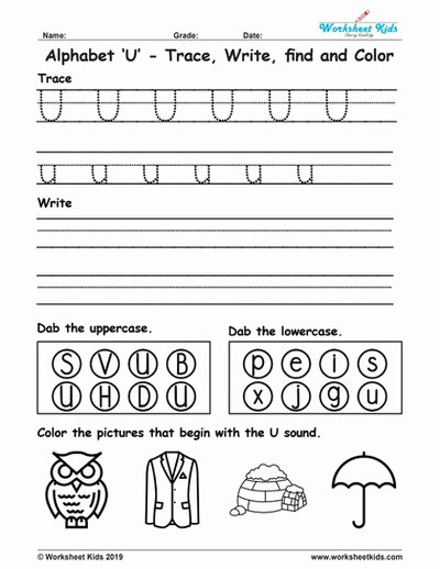 Letter U Worksheets for Preschoolers Lovely Alphabet Letter U Trace Write Find Color Free Printable Pdf