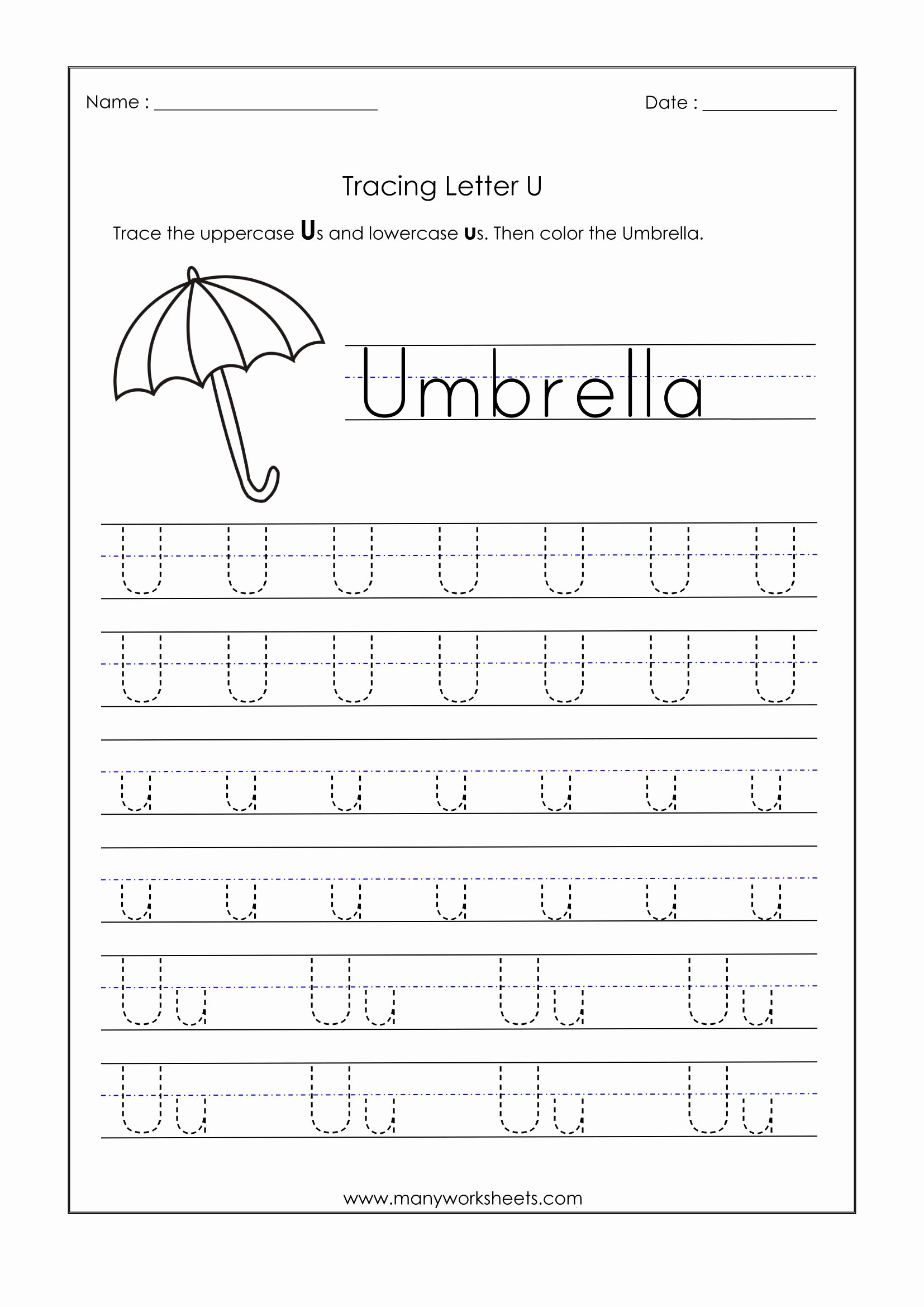 Letter U Worksheets for Preschoolers Unique Letter Worksheets for Kindergarten Trace Dotted Letters Pre