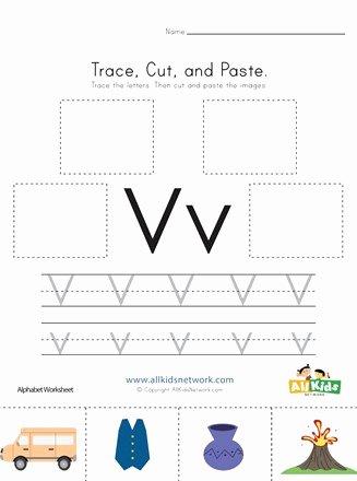 Letter V Worksheets for Preschoolers Beautiful Trace Cut and Paste Letter V Worksheet