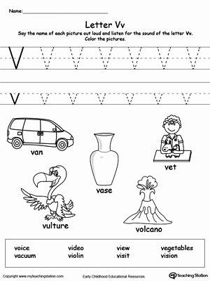 Letter V Worksheets for Preschoolers Fresh Words Starting with Letter V
