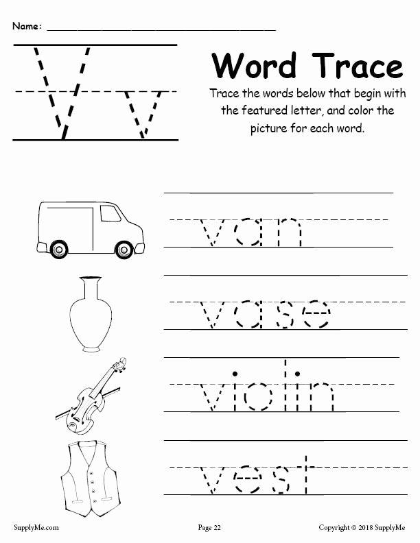 Letter V Worksheets for Preschoolers Inspirational Letter V Words Alphabet Tracing Worksheet