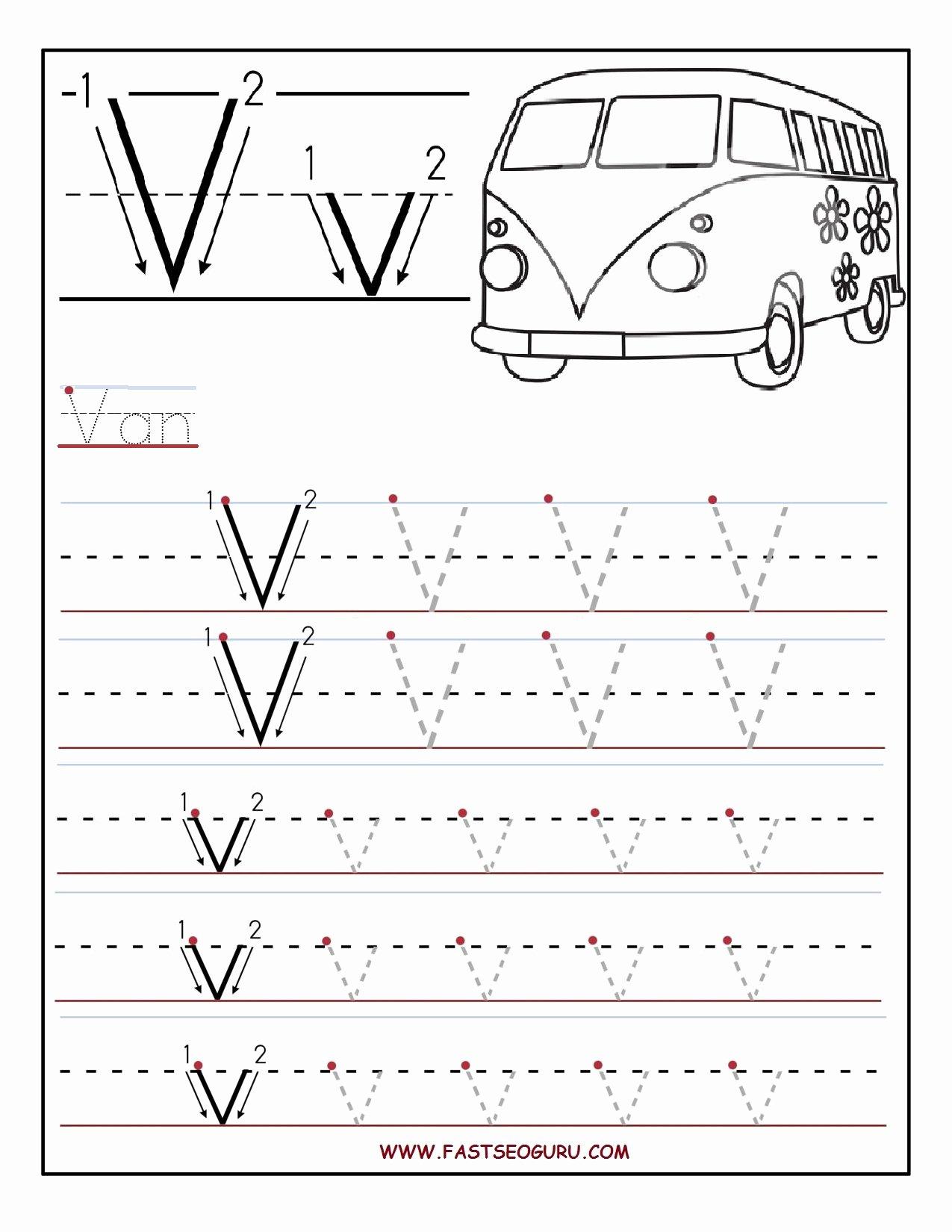 Letter V Worksheets for Preschoolers top Printable Letter V Tracing Worksheets for Preschool