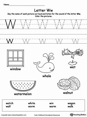 Letter W Worksheets for Preschoolers Beautiful Free Words Starting with Letter W Worksheet Teach the