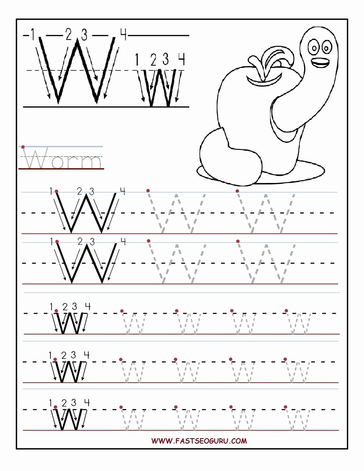 Letter W Worksheets for Preschoolers Best Of Printable Letter W Tracing Worksheets for Preschool