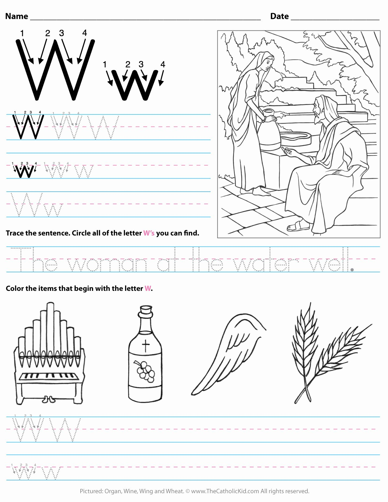 Letter W Worksheets for Preschoolers New Catholic Alphabet Letter W Worksheet Preschool Kindergarten
