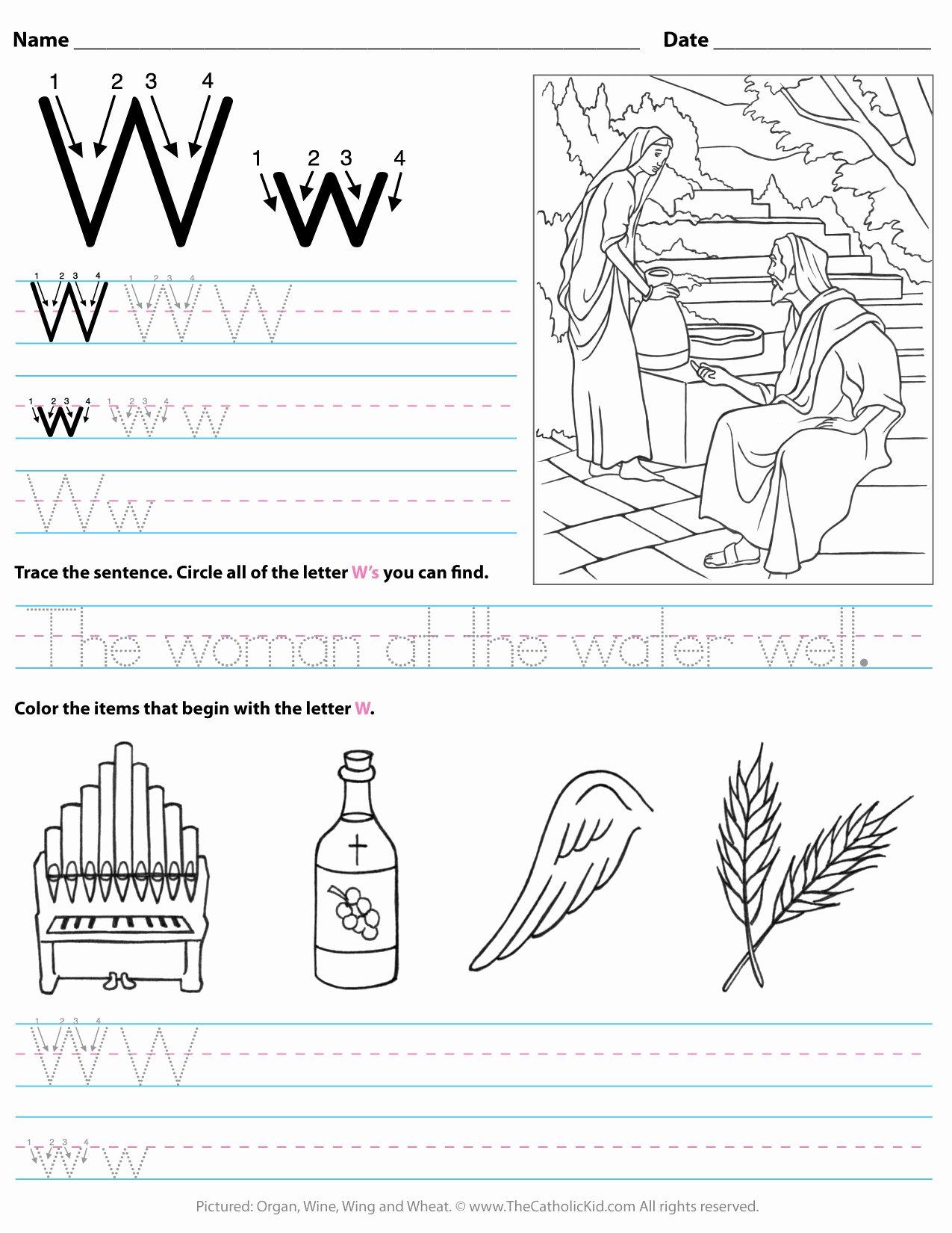 Letter W Worksheets for Preschoolers New Catholic Alphabet Letter W Worksheet Preschool Kindergarten