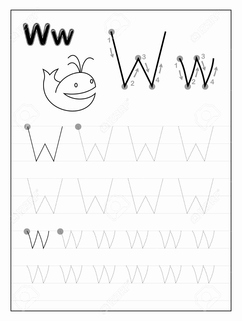 Letter W Worksheets for Preschoolers Unique Stock