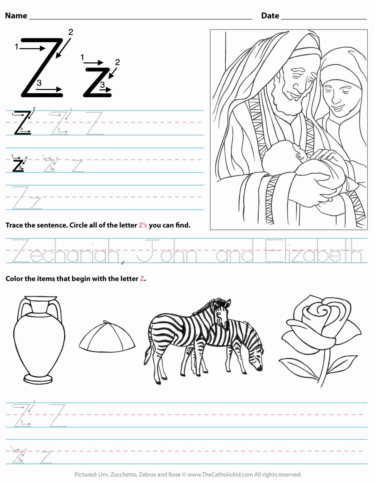 Letter Worksheets for Preschoolers New Catholic Alphabet Letter Worksheet Preschool Kindergarten to