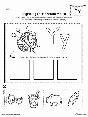 Letter Y Worksheets for Preschoolers Beautiful Letter Y Beginning sound Picture Match Worksheet
