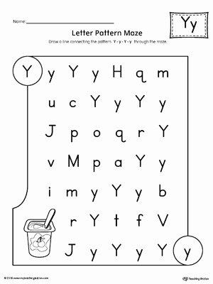 Letter Y Worksheets for Preschoolers New Letter Y Pattern Maze Worksheet