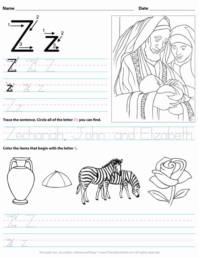 Letter Z Worksheets for Preschoolers Beautiful Catholic Alphabet Letter Worksheet Preschool Kindergarten to
