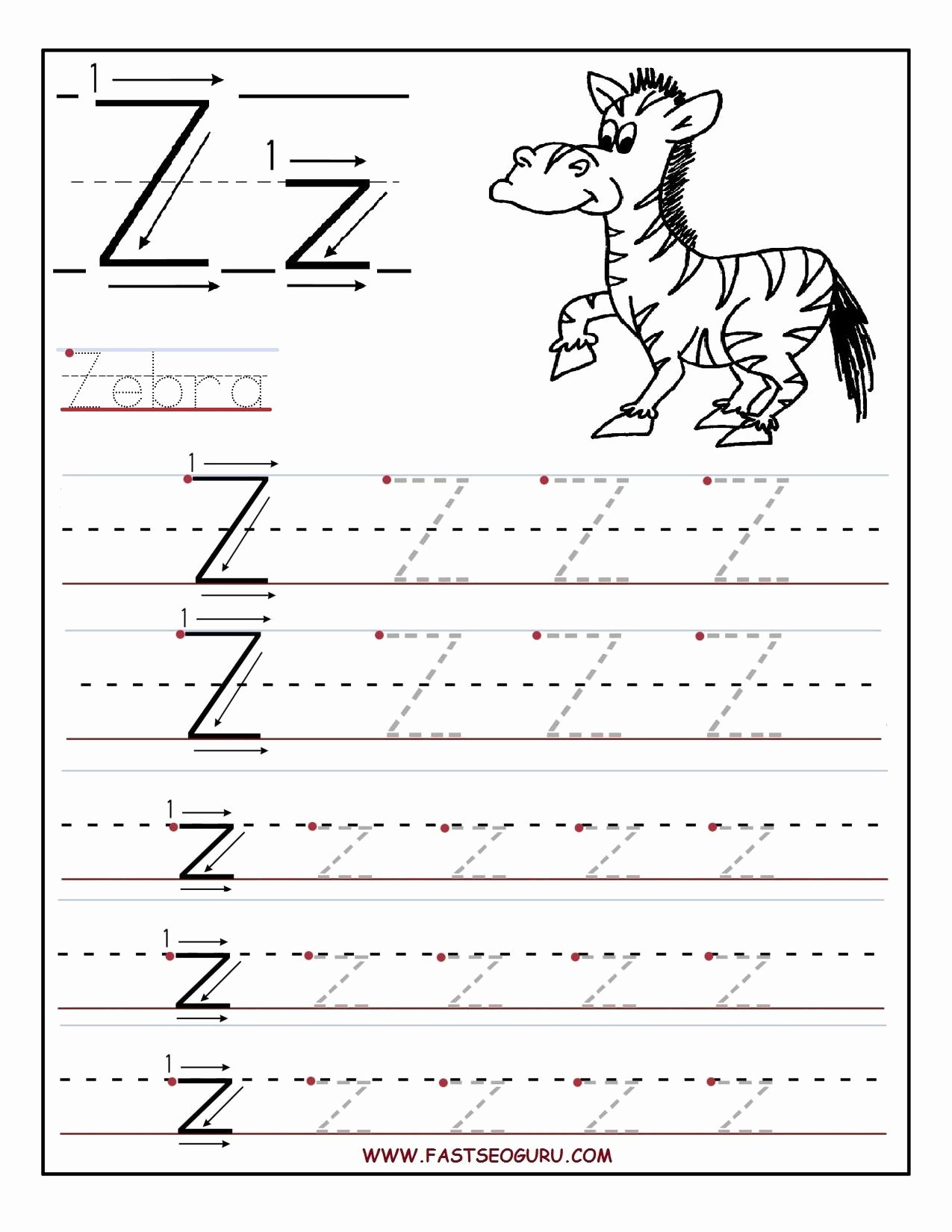Letter Z Worksheets for Preschoolers Beautiful Printable Letter Z Tracing Worksheets for Preschool