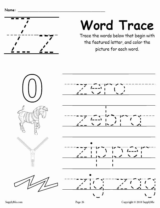 Letter Z Worksheets for Preschoolers Best Of Letter Z Words Alphabet Tracing Worksheet