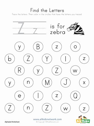 Letter Z Worksheets for Preschoolers Inspirational Find the Letter Z Worksheet