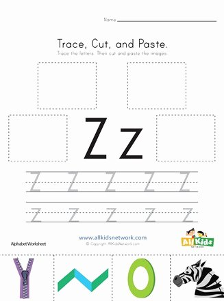Letter Z Worksheets for Preschoolers Inspirational Trace Cut and Paste Letter Z Worksheet
