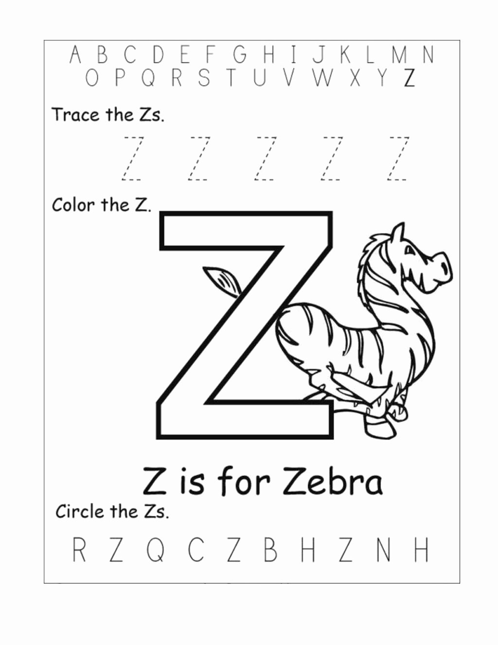 Letter Z Worksheets for Preschoolers Lovely Worksheet Letter Z Worksheets Kids Learning Activity