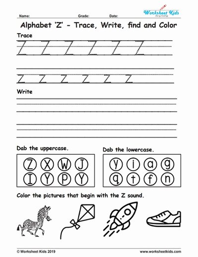 Letter Z Worksheets for Preschoolers Unique Alphabet Letter Z Trace Write Find Color Free Printable Pdf