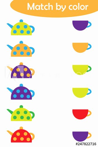 Logical Reasoning Worksheets for Preschoolers Lovely Matching Game for Children Connect Colorful Kettles with