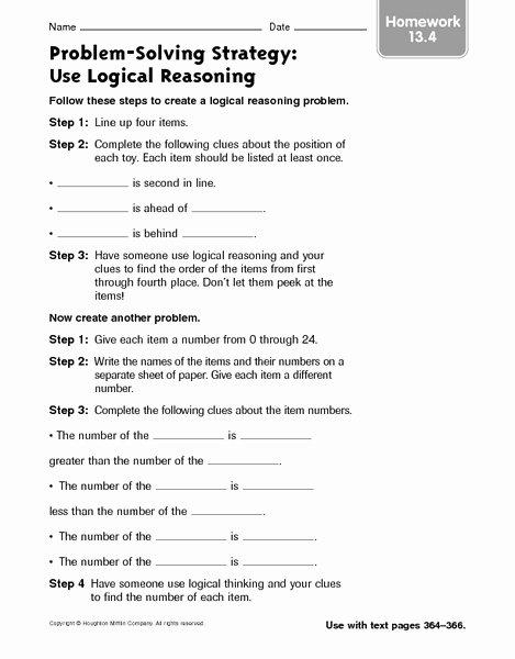 Logical Reasoning Worksheets for Preschoolers Unique Math Reasoning Worksheets Printables Logical High School