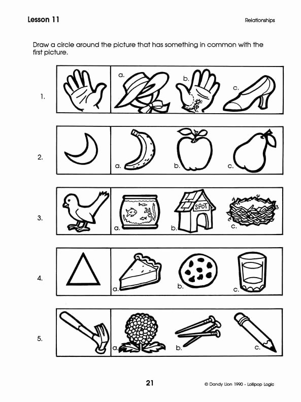 Logical Thinking Worksheets for Preschoolers Lovely This is Help the Students Match