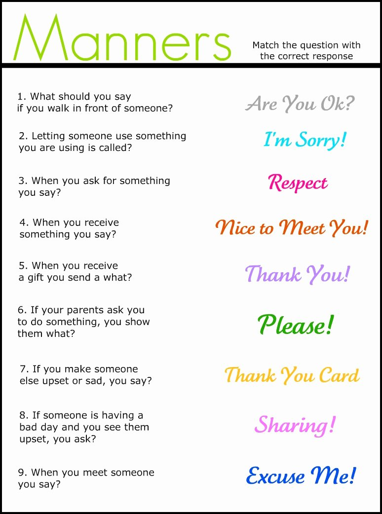 Manners Worksheets for Preschoolers Awesome Manners Match It Up Worksheet Freebie