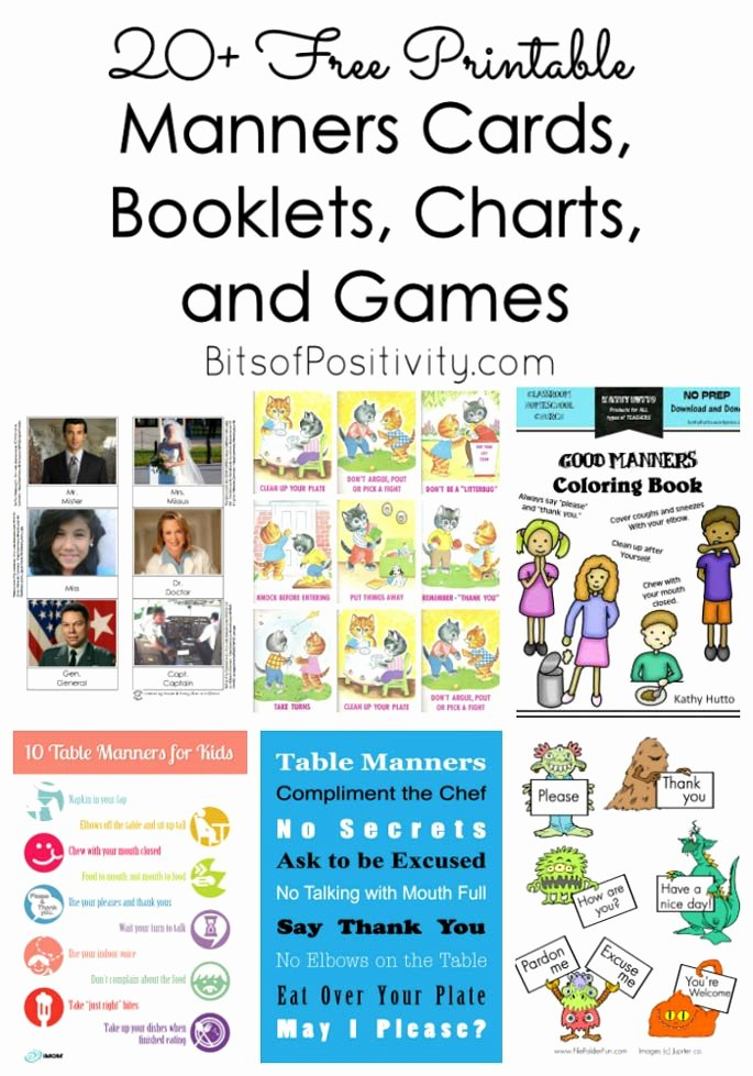 Manners Worksheets for Preschoolers Beautiful 20 Free Printable Manners Cards Booklets Charts and
