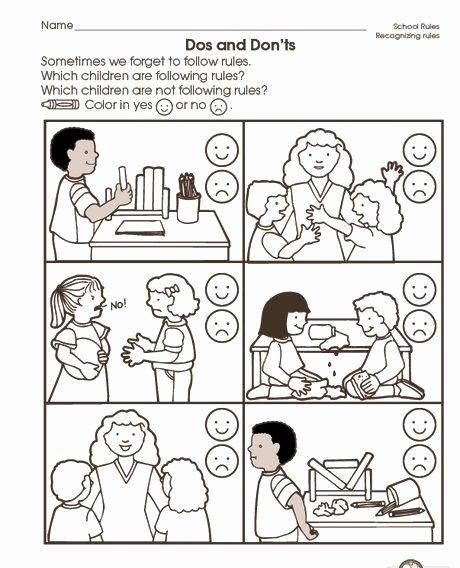 Manners Worksheets for Preschoolers Beautiful School Rules Worksheet 2