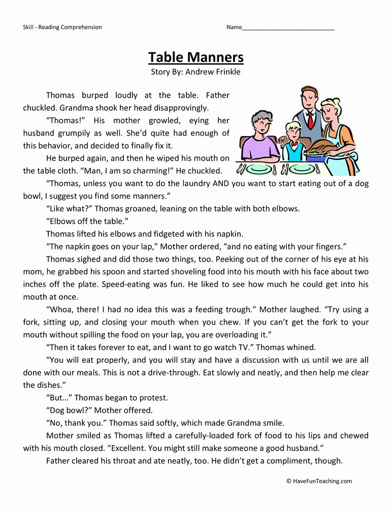 Manners Worksheets for Preschoolers New Table Manners Reading Prehension Worksheet