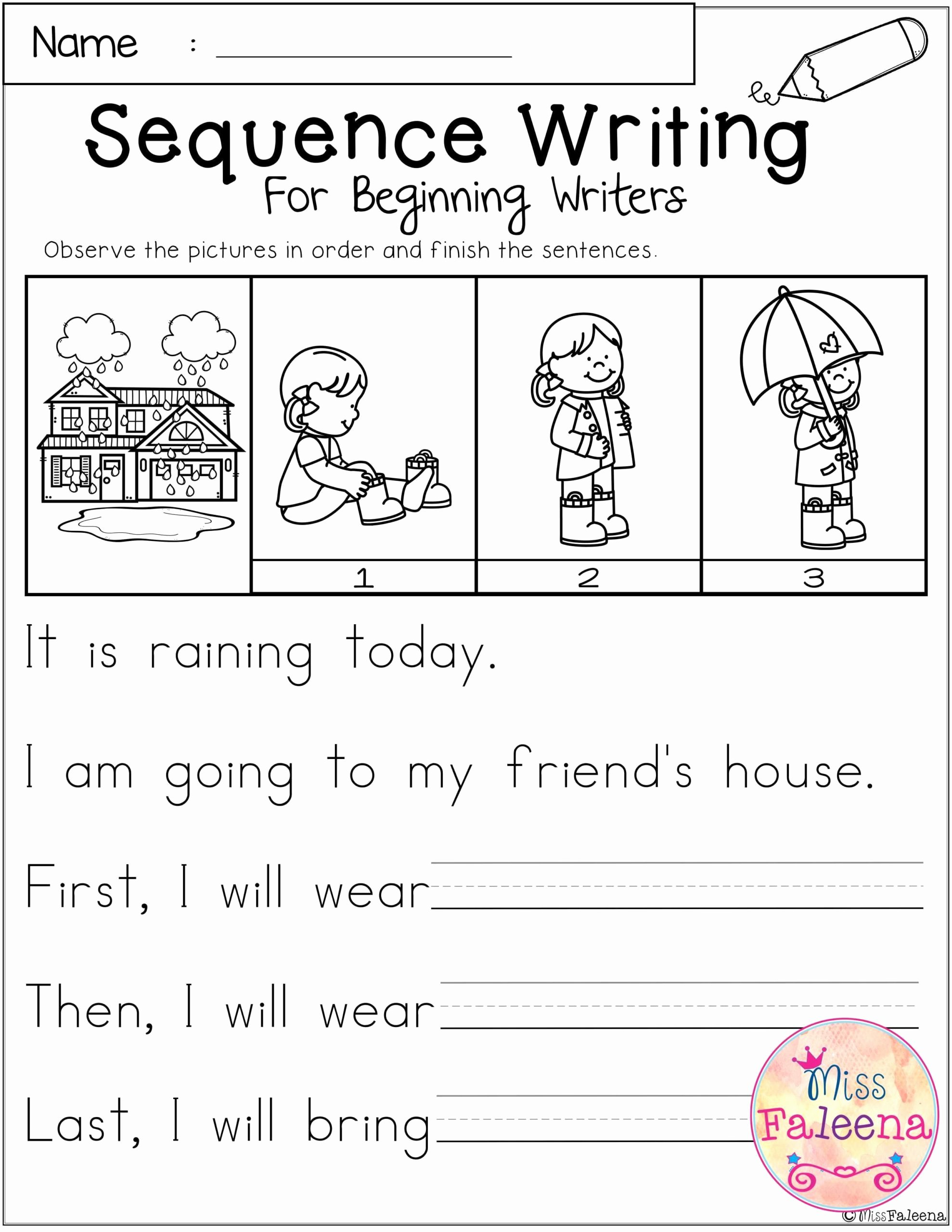 March Worksheets for Preschoolers Beautiful March Sequence Writing for Beginning Writers with