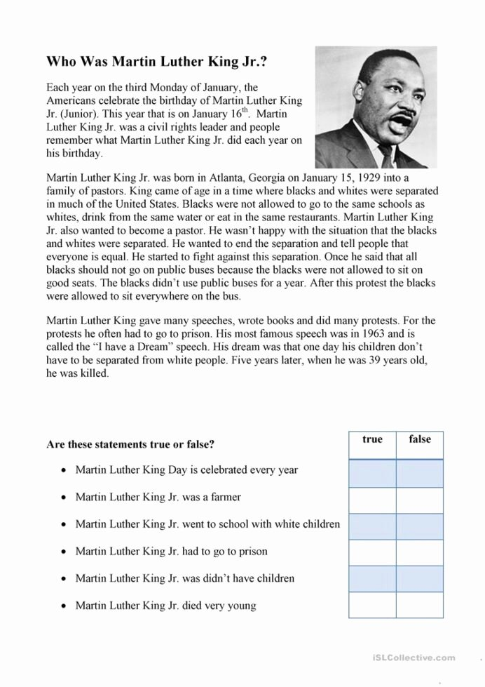 Martin Luther King Worksheets for Preschoolers Awesome Luther English Esl Worksheets for Distance Learning Reading