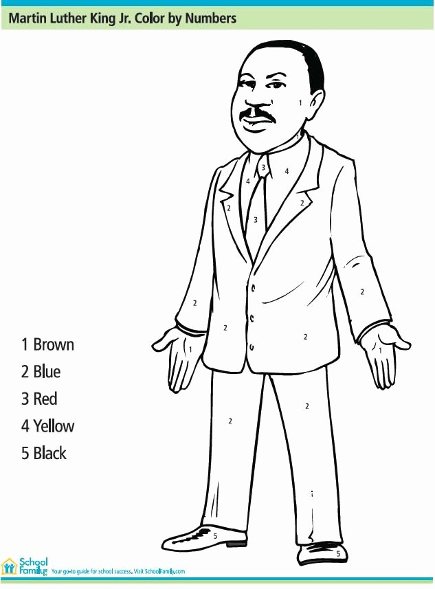 Martin Luther King Worksheets for Preschoolers Best Of Martin Luther King Jr Color by Number