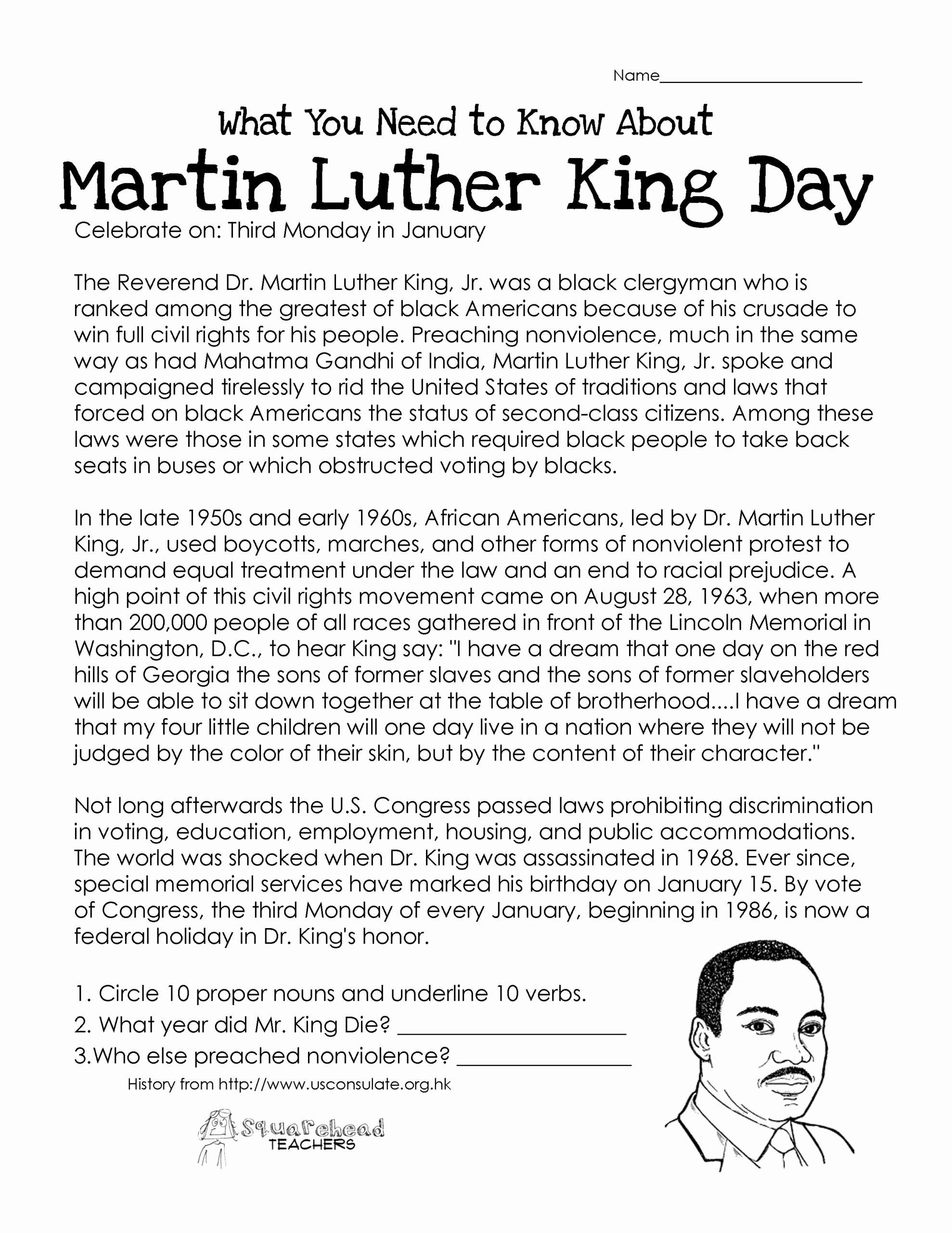 Martin Luther King Worksheets for Preschoolers Lovely Luther Free Worksheet Worksheets High School Math Teacher