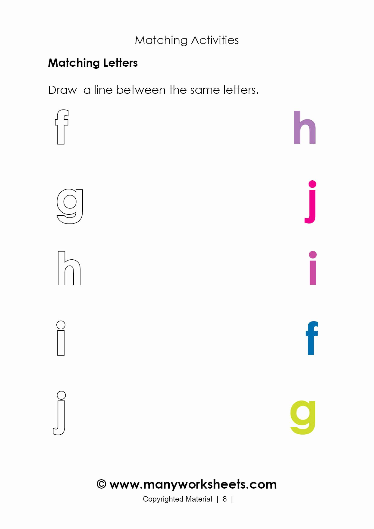 Matching Letters Worksheets for Preschoolers Unique Matching Letters Worksheet for Kindergarten