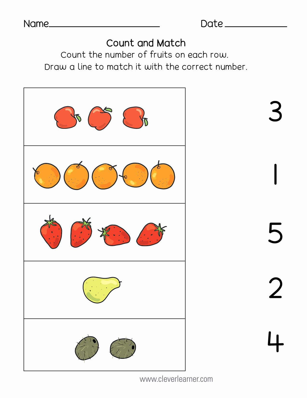 Matching Numbers Worksheets for Preschoolers Beautiful Number Matching Counting and Number Writing Worksheets