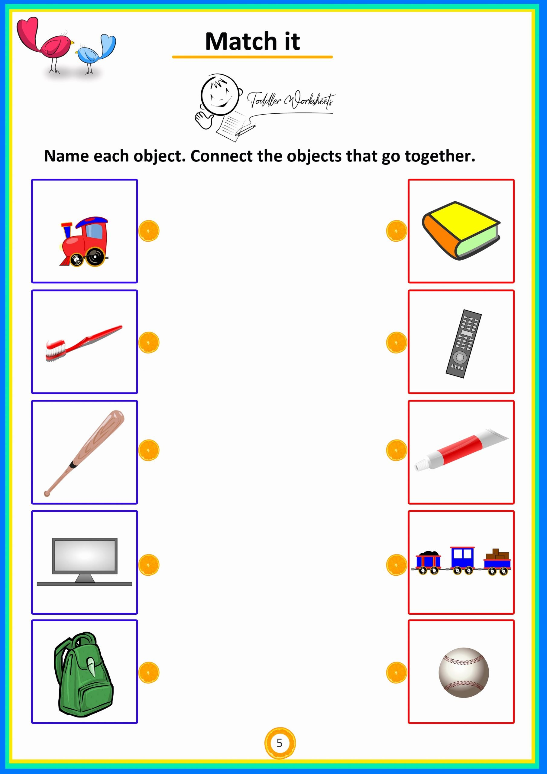 Matching Objects Worksheets for Preschoolers Awesome Match the Objects toddler Preschool Worksheets