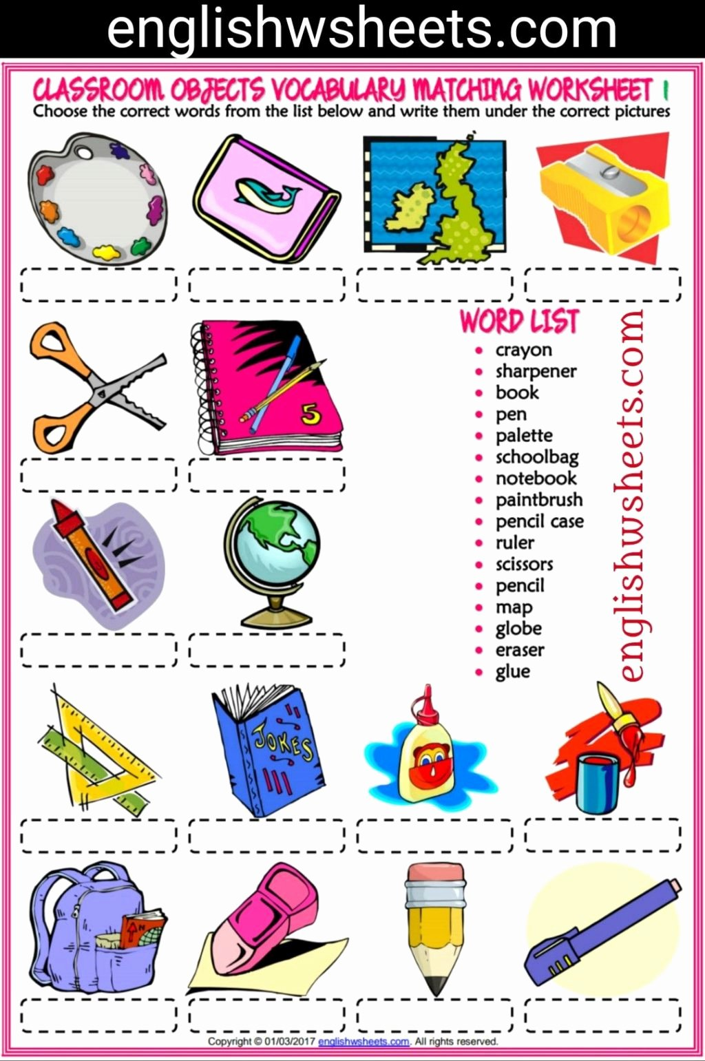 Matching Objects Worksheets for Preschoolers Best Of Worksheet Classroom Objects Esl Printable Matching